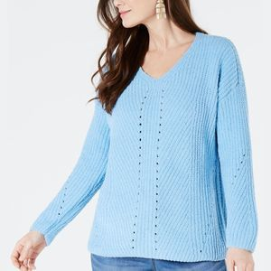 Style & Co Sweater Chenille Blue L New